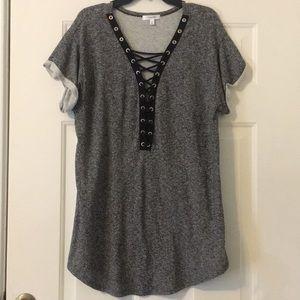 Grey lace up shirt